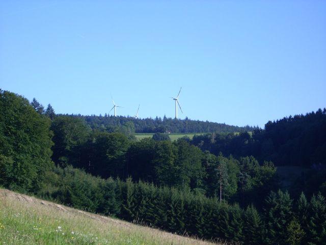 Blick von der Nord-Anfahrt auf die Windräder