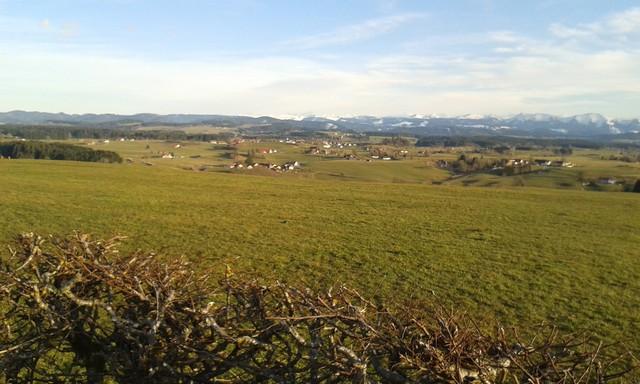 Siggener Höhe links Adelegg, rechts Hochgrat.