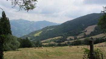 Westanfahrt: Blick nach Norden. Der Berg im Hintergrund ist vermutlich der Monte Mescolino.