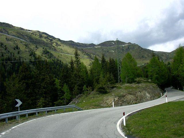 An der Waldgrenze. Die Passhöhe ist bereits deutlich zu erkennen.