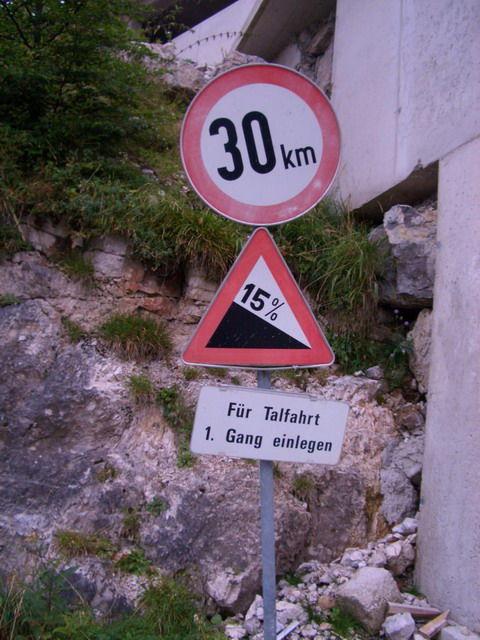 Warnung bei der Abfahrt.