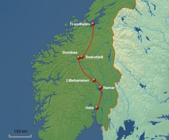 Karte von Trondheim nach Oslo