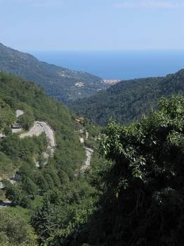 Blick von der Passhöhe zum Meer, mit den in den Hang gelegten Serpentinen und Menton am Meer