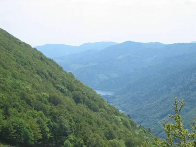 Blick ins Tal, aus dem der Lac Wildenstein vorsichtig um die Ecke schaut.
