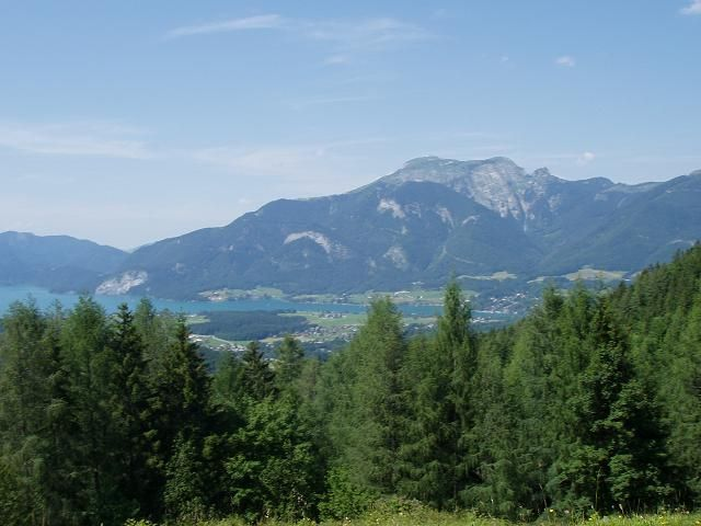 Blick auf Wolfgangsee und Schafberg.