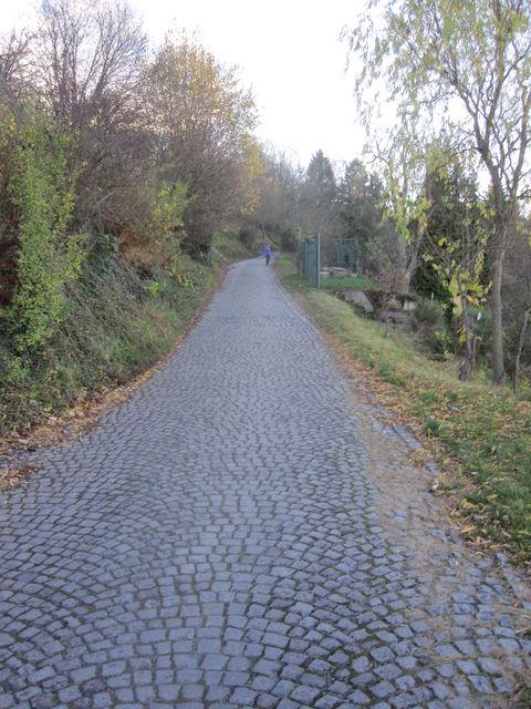Pavé-Anstieg in Stuttgart.