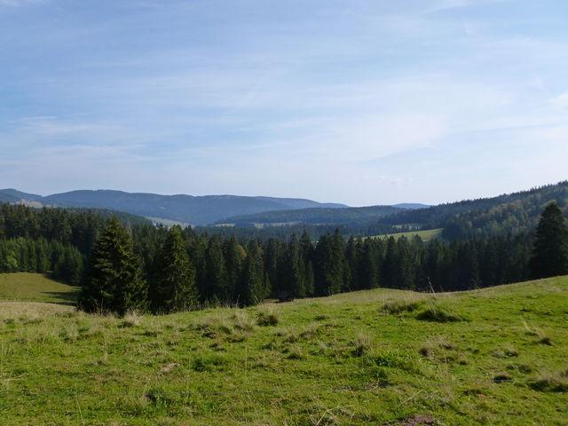 Blick von der Passhöhe in das Bernauer Hochtal