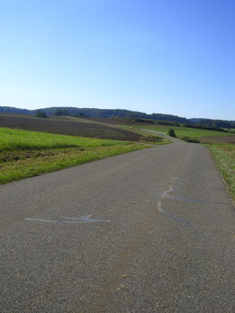 Nordanfahrt von Fischbrunn: Danach freie Sicht nach Hubmersberg.