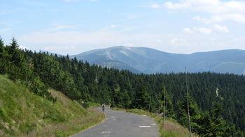 Blick über die Schlußgerade auf die Schneekoppe (links über den Baumspitzen) und den Brunnberg.