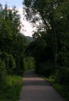 Ehemalige Bahnlinie im Wiesaztal zwischen Bronnweiler und Gönningen.