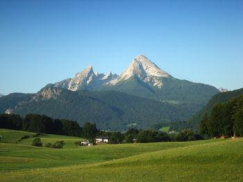 Postkartenblick von Bischofswiesen auf den Watzmann am Morgen des 5. Tages