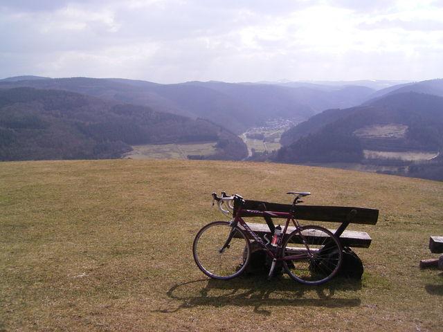 Blick vom Gipfel in Richtung der Hohen Eifel.