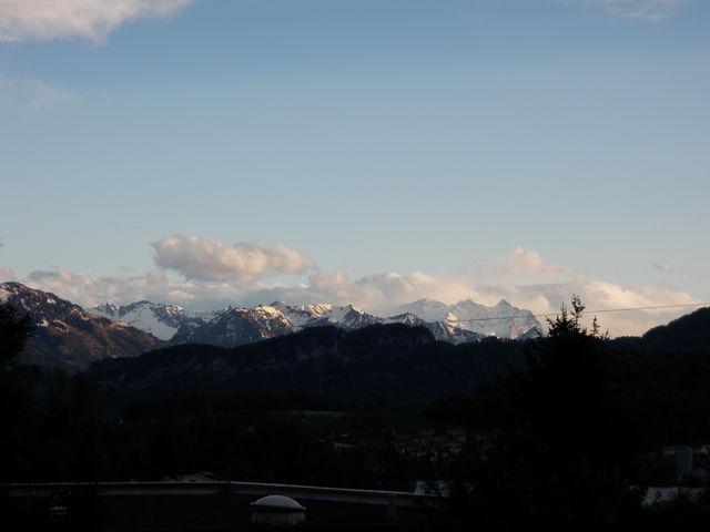 Sicht von Luzern auf die Berner Alpen (an einem anderen Tag aufgenommen).
