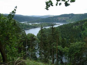 Blick auf die Windungen der Hohenwarte-Talsperre.