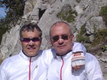 Josef und Wolfgang mit Nasenpflaster am Ofenpass.