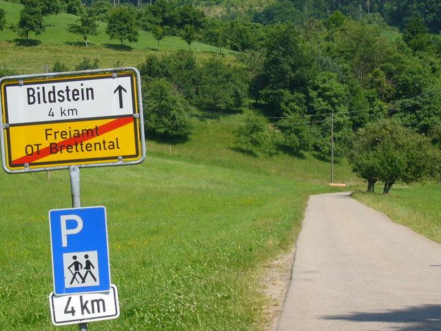 Bildsteinstraße nach dem Abzweig im Brettental.