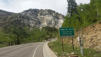 Town of Alta, Population 370, Elevation 8460 ft (= 2579 m).